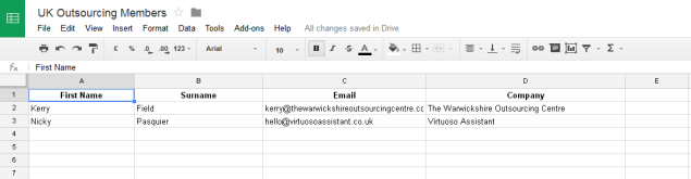 SPREADSHEET: client contacts & data