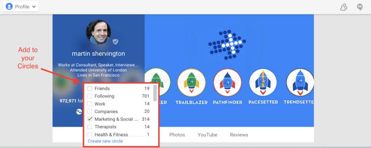 Add people to Google Plus Circles